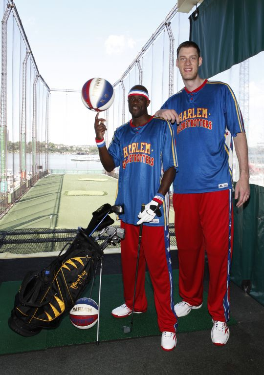 Tiny Sturgess and Special K Daley golfing at Chelsea Piers.jpg